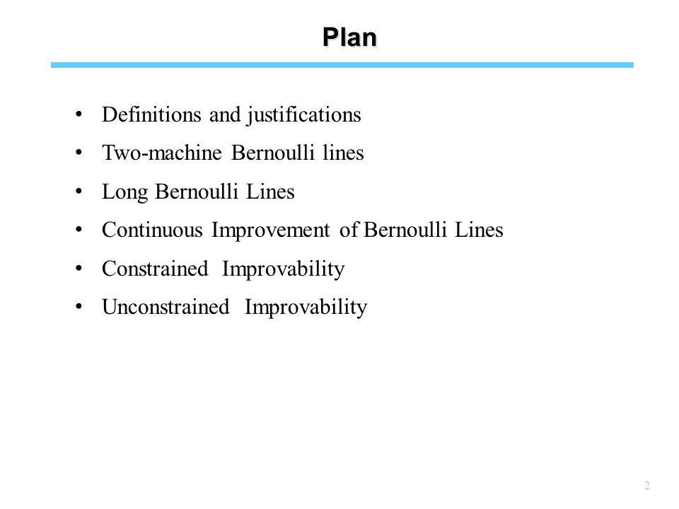 2 Plan Definitions and justifications Two-machine Bernoulli lines Long Bernoulli Lines Continuous Improvement of Bernoulli Lines Constrained Improvability Unconstrained Improvability