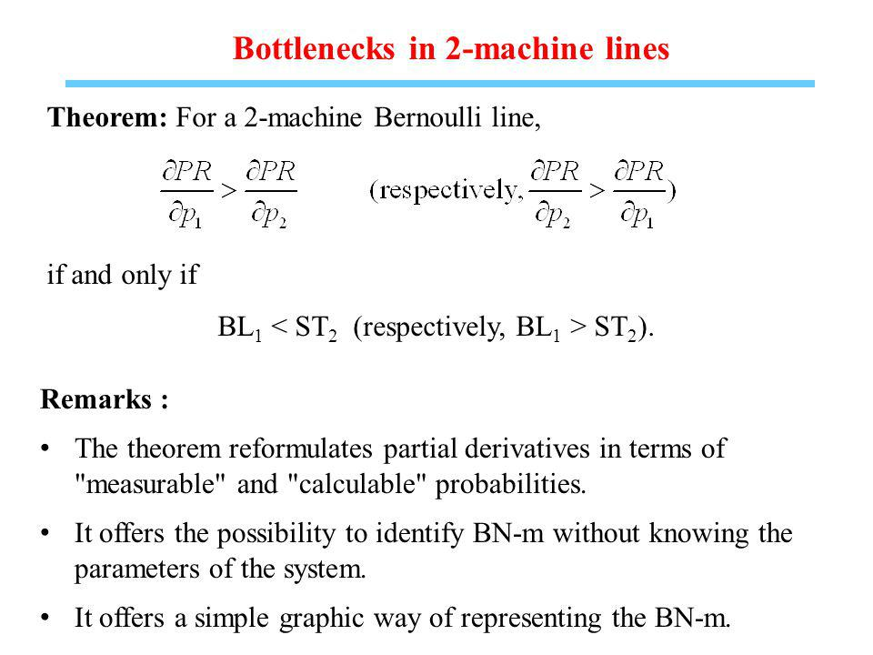 Bottlenecks in 2-machine lines Theorem: For a 2-machine Bernoulli line, if and only if BL 1 ST 2 ).
