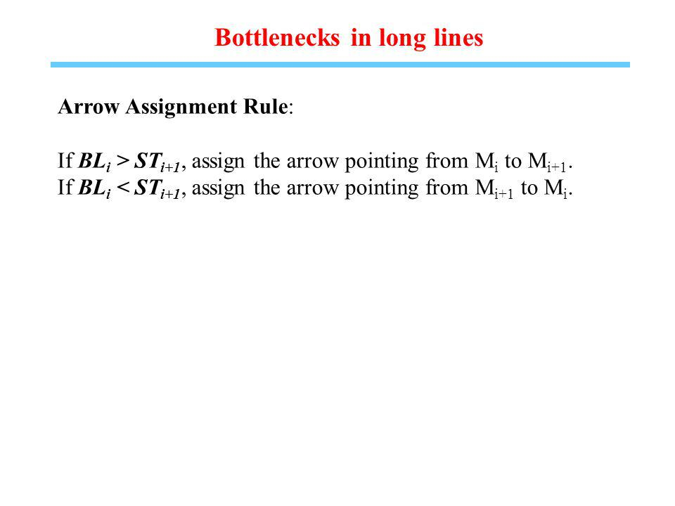 Bottlenecks in long lines Arrow Assignment Rule: If BL i > ST i+1, assign the arrow pointing from M i to M i+1.