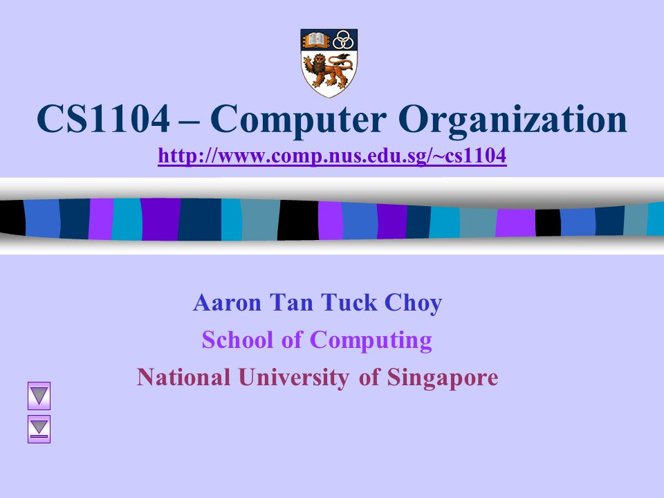 CS1104 – Computer Organization http://www.comp.nus.edu.sg/~cs1104 http://www.comp.nus.edu.sg/~cs1104 Aaron Tan Tuck Choy School of Computing National
