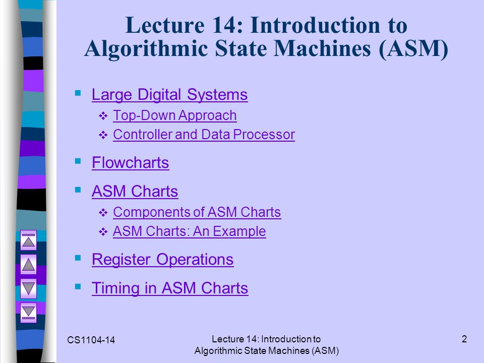 CS1104-14 Lecture 14: Introduction to Algorithmic State Machines (ASM) 2 Large Digital Systems Top-Down Approach Controller and Data Processor Flowcha