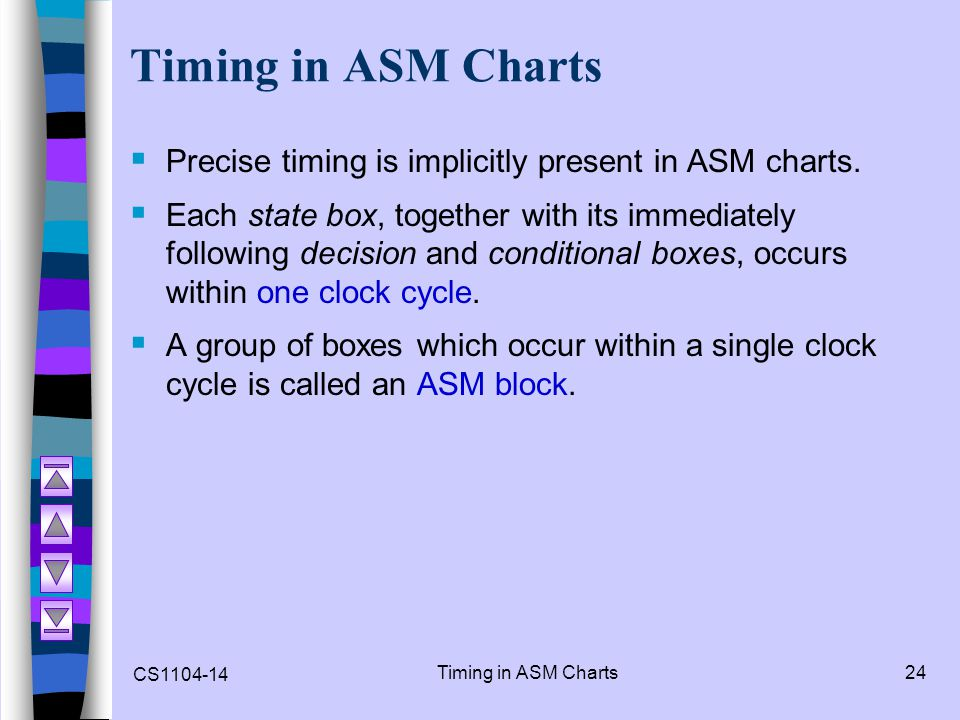 CS1104-14 Timing in ASM Charts24 Timing in ASM Charts Precise timing is implicitly present in ASM charts. Each state box, together with its immediatel