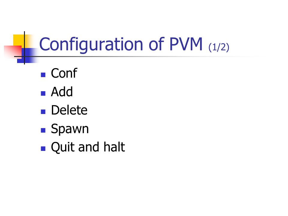Configuration of PVM (1/2) Conf Add Delete Spawn Quit and halt