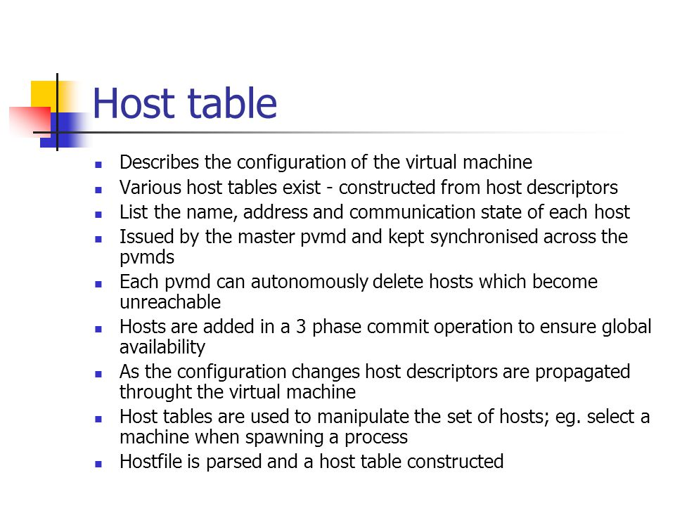 Host table Describes the configuration of the virtual machine Various host tables exist - constructed from host descriptors List the name, address and communication state of each host Issued by the master pvmd and kept synchronised across the pvmds Each pvmd can autonomously delete hosts which become unreachable Hosts are added in a 3 phase commit operation to ensure global availability As the configuration changes host descriptors are propagated throught the virtual machine Host tables are used to manipulate the set of hosts; eg.