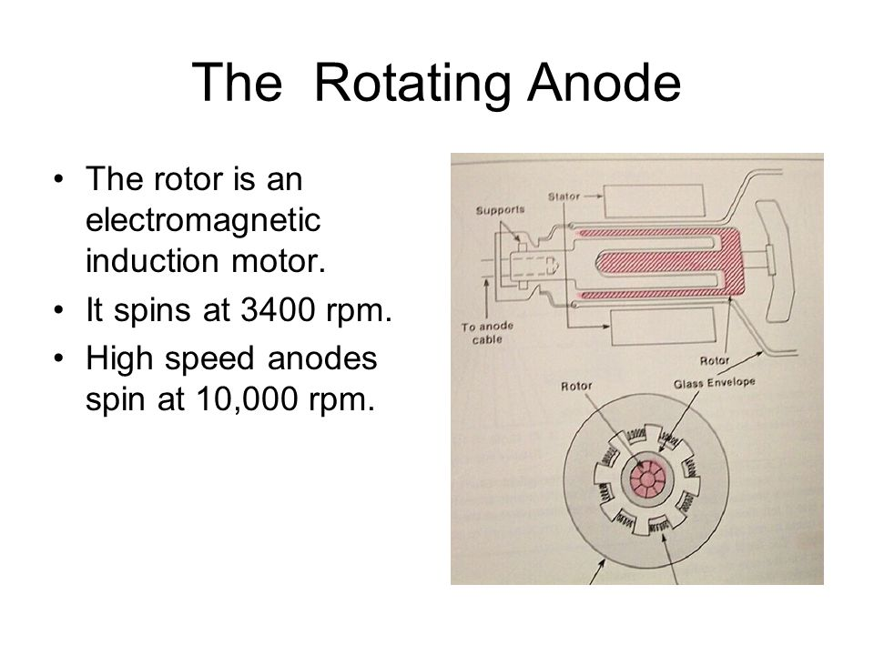 The Rotating Anode The rotor is an electromagnetic induction motor. It spins at 3400 rpm. High speed anodes spin at 10,000 rpm.