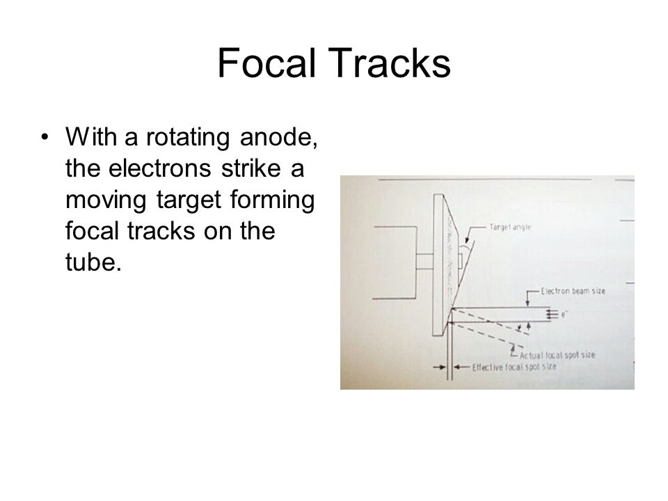 Focal Tracks With a rotating anode, the electrons strike a moving target forming focal tracks on the tube.