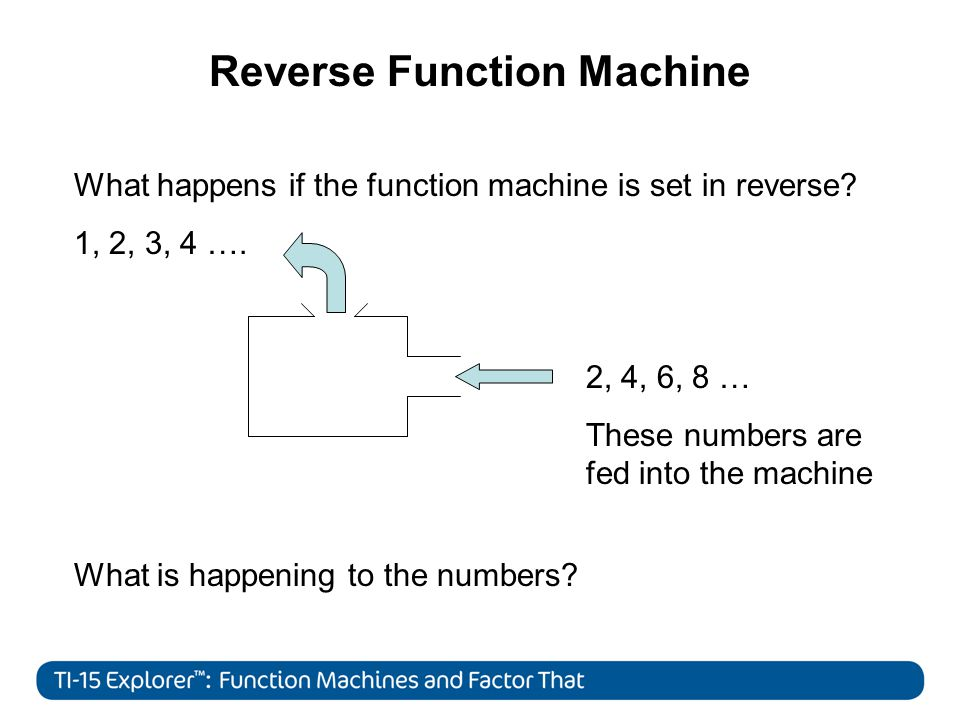 Reverse Function Machine 2 What happens if the function machine is set in reverse.