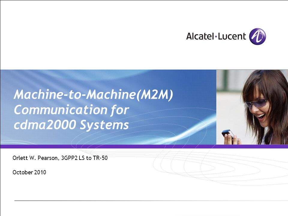 Machine-to-Machine(M2M) Communication for cdma2000 Systems Orlett W.