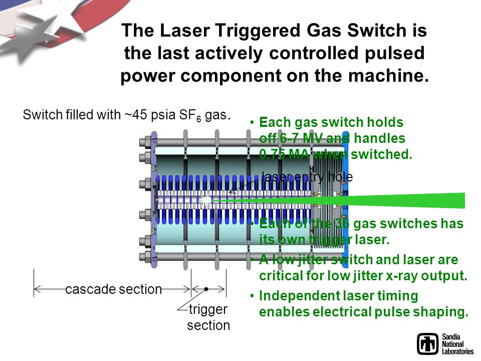 The Laser Triggered Gas Switch is the last actively controlled pulsed power component on the machine.