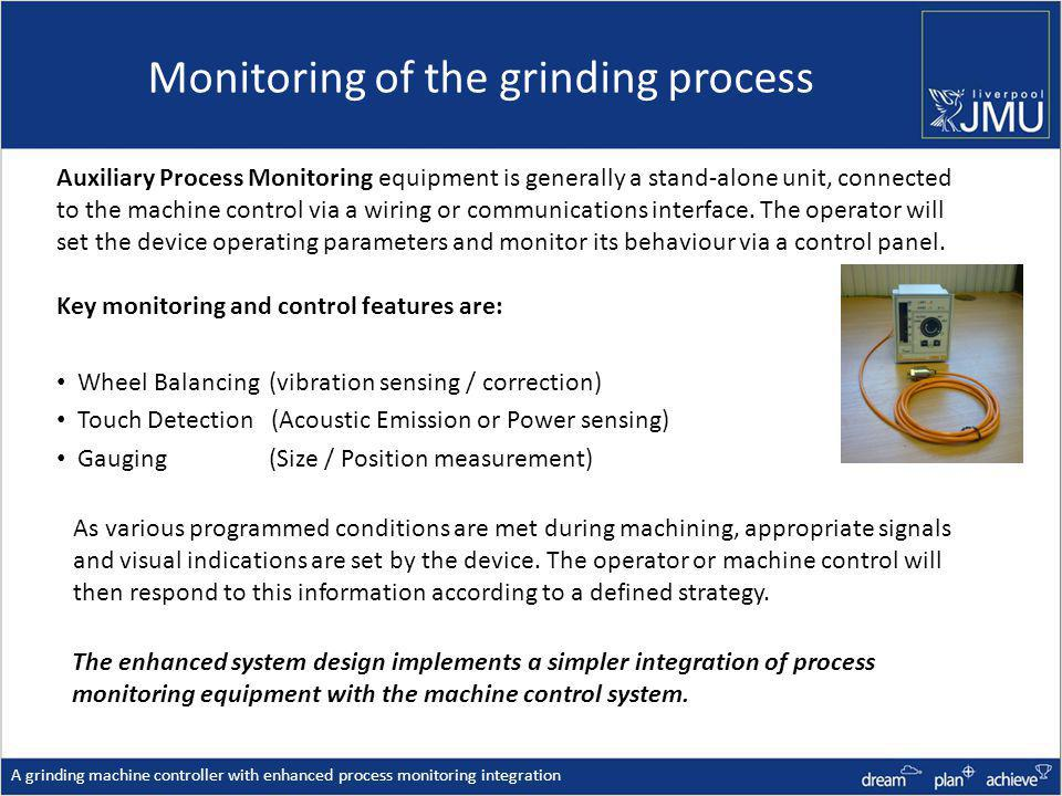Monitoring of the grinding process A grinding machine controller with enhanced process monitoring integration As various programmed conditions are met during machining, appropriate signals and visual indications are set by the device.