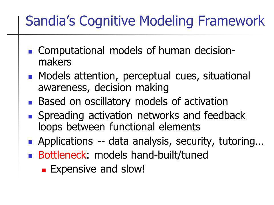 Sandias Cognitive Modeling Framework Computational models of human decision- makers Models attention, perceptual cues, situational awareness, decision making Based on oscillatory models of activation Spreading activation networks and feedback loops between functional elements Applications -- data analysis, security, tutoring… Bottleneck: models hand-built/tuned Expensive and slow!