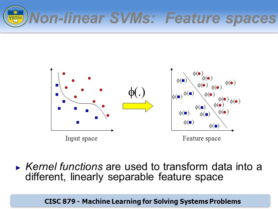 CISC Machine Learning for Solving Systems Problems Non-linear SVMs: Feature spaces Kernel functions are used to transform data into a different, linearly separable feature space (.) ( ) Feature spaceInput space