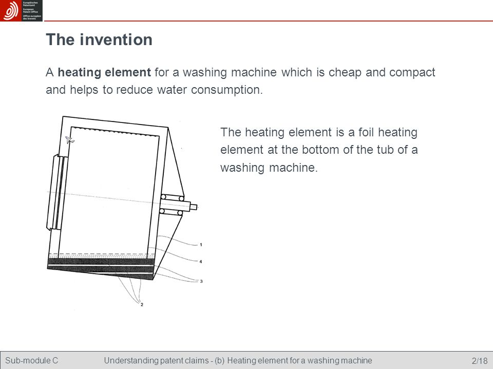 Sub-module CUnderstanding patent claims - (b) Heating element for a washing machine 3/18 The invention How can you protect it from imitation.