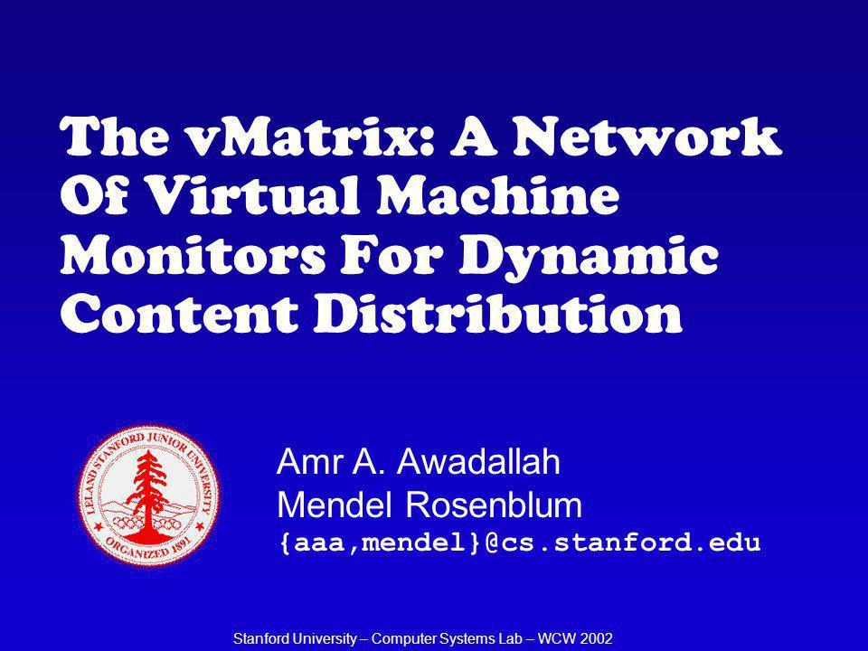 Stanford University – CSL – WCW 2002 Challenges: Mobility (NAT) VMM RM VM Agent VM1VM2 192.168.1.10 NAT/LB Internet 64.58.77.28 DNS maps.yahoo.com 64.58.77.28