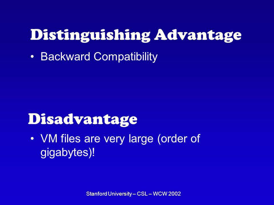 Stanford University – CSL – WCW 2002 Distinguishing Advantage Backward Compatibility Disadvantage VM files are very large (order of gigabytes)!