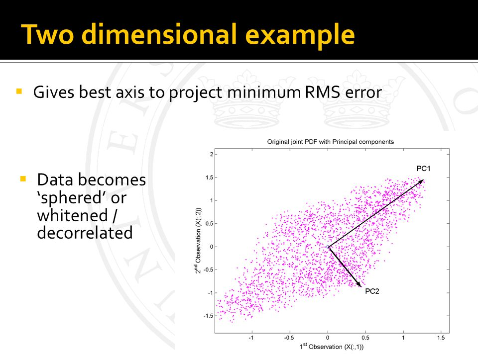 Two dimensional example Gives best axis to project minimum RMS error Data becomes sphered or whitened / decorrelated