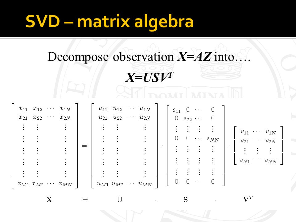 SVD – matrix algebra Decompose observation X=AZ into…. X=USV T