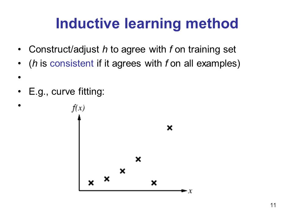 12 Inductive learning method Construct/adjust h to agree with f on training set (h is consistent if it agrees with f on all examples) E.g., curve fitting: