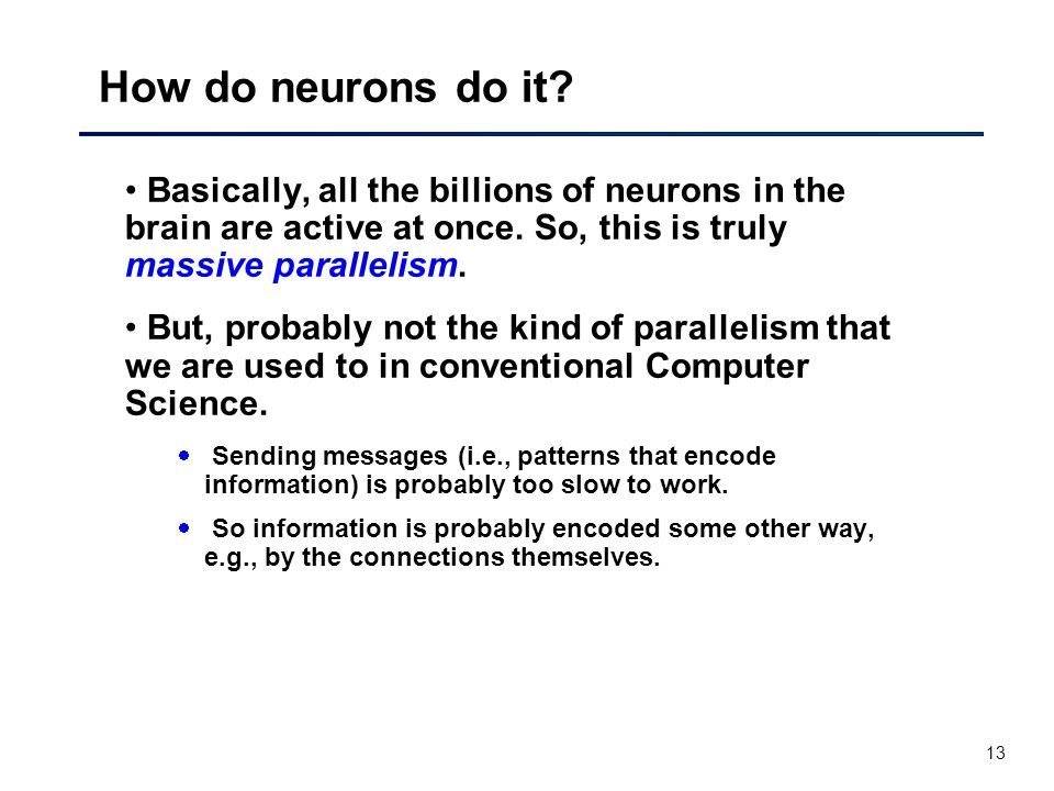 13 How do neurons do it. Basically, all the billions of neurons in the brain are active at once.