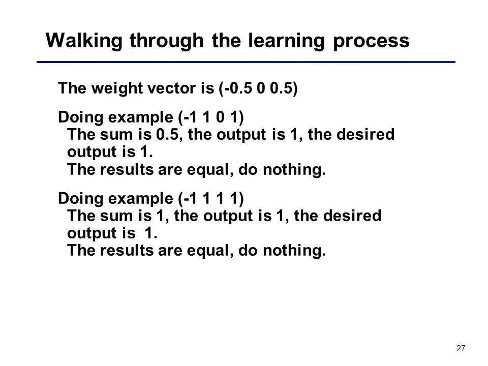 27 Walking through the learning process The weight vector is (-0.5 0 0.5) Doing example (-1 1 0 1) The sum is 0.5, the output is 1, the desired output is 1.