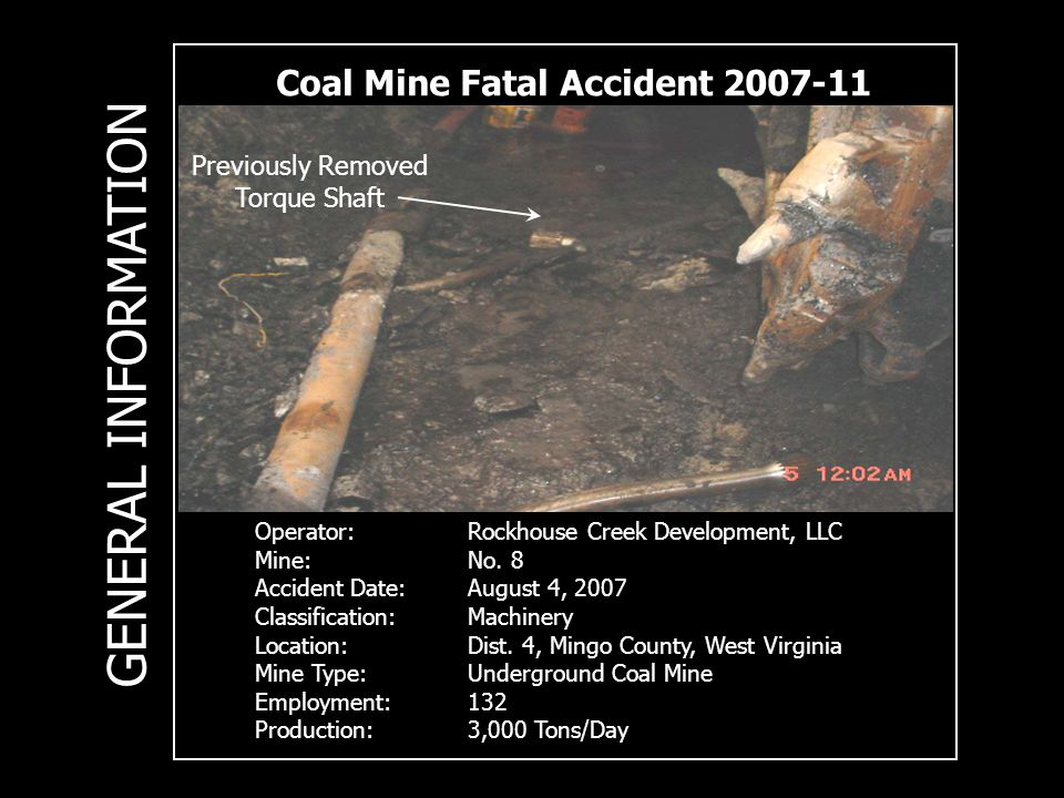 Coal Mine Fatal Accident Operator:Rockhouse Creek Development, LLC Mine:No.
