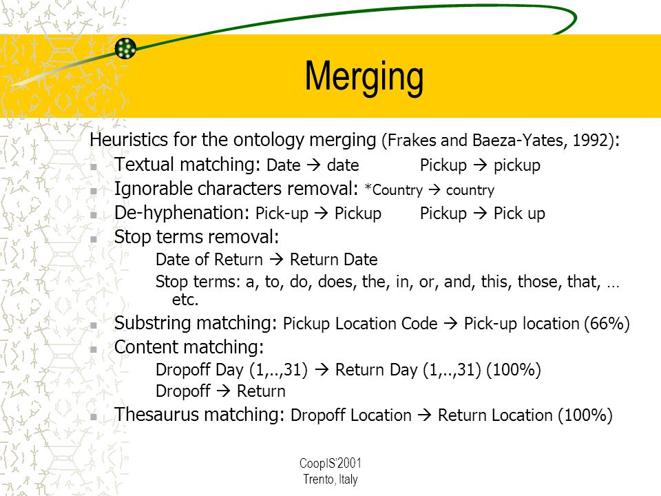 CoopIS2001 Trento, Italy Merging Heuristics for the ontology merging (Frakes and Baeza-Yates, 1992) : Textual matching: Date datePickup pickup Ignorable characters removal: *Country country De-hyphenation: Pick-up PickupPickup Pick up Stop terms removal: Date of Return Return Date Stop terms: a, to, do, does, the, in, or, and, this, those, that, … etc.