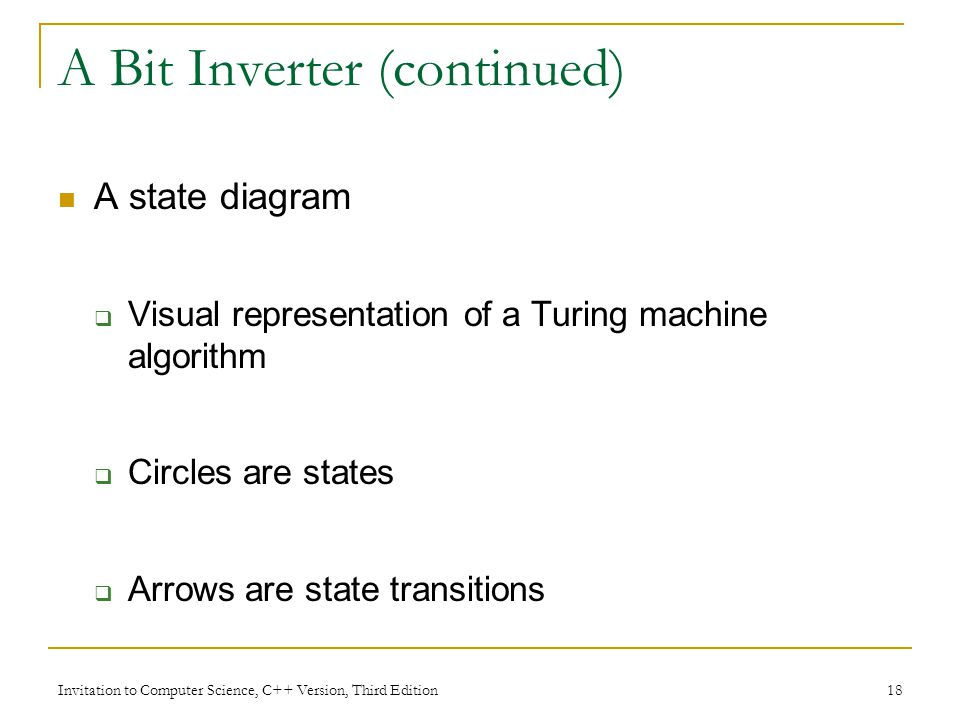 Invitation to Computer Science, C++ Version, Third Edition 18 A Bit Inverter (continued) A state diagram Visual representation of a Turing machine alg
