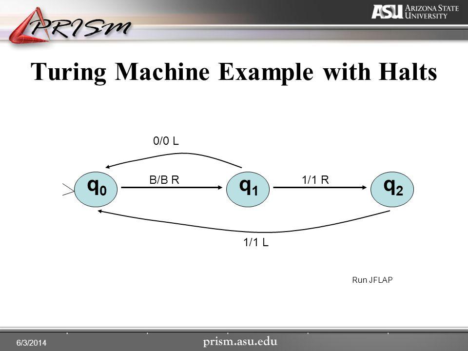 6/3/2014 Turing Machine Example with Halts q0q0 q1q1 q2q2 1/1 L 0/0 L 1/1 RB/B R Run JFLAP