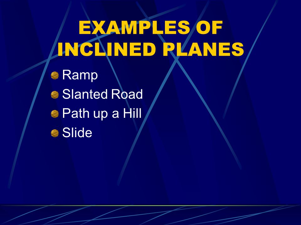 EXAMPLES OF INCLINED PLANES Ramp Slanted Road Path up a Hill Slide