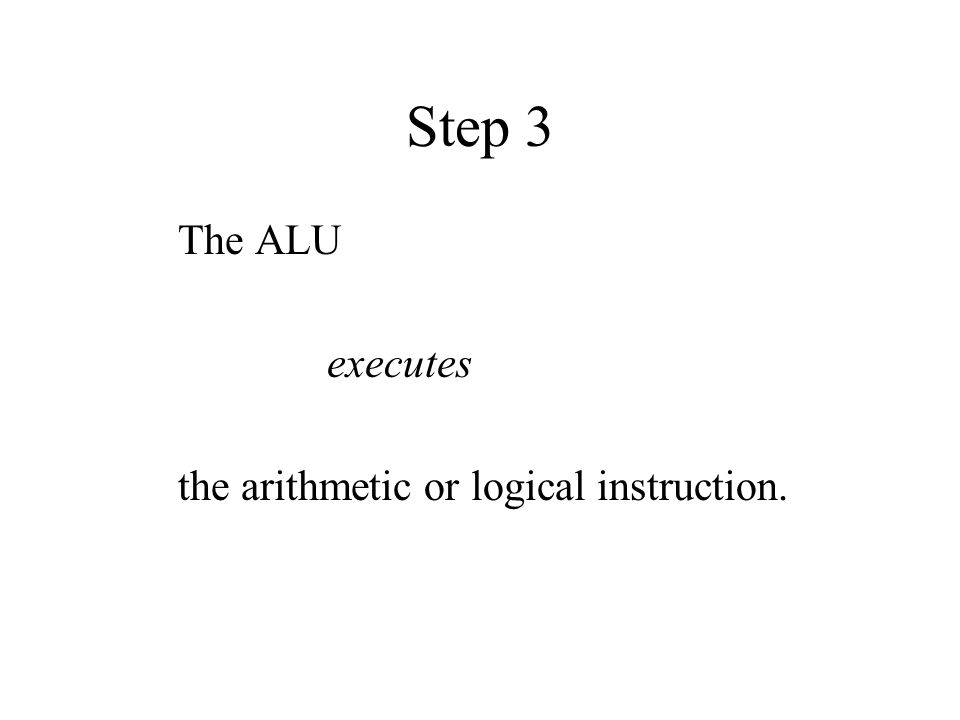 Step 3 The ALU executes the arithmetic or logical instruction.