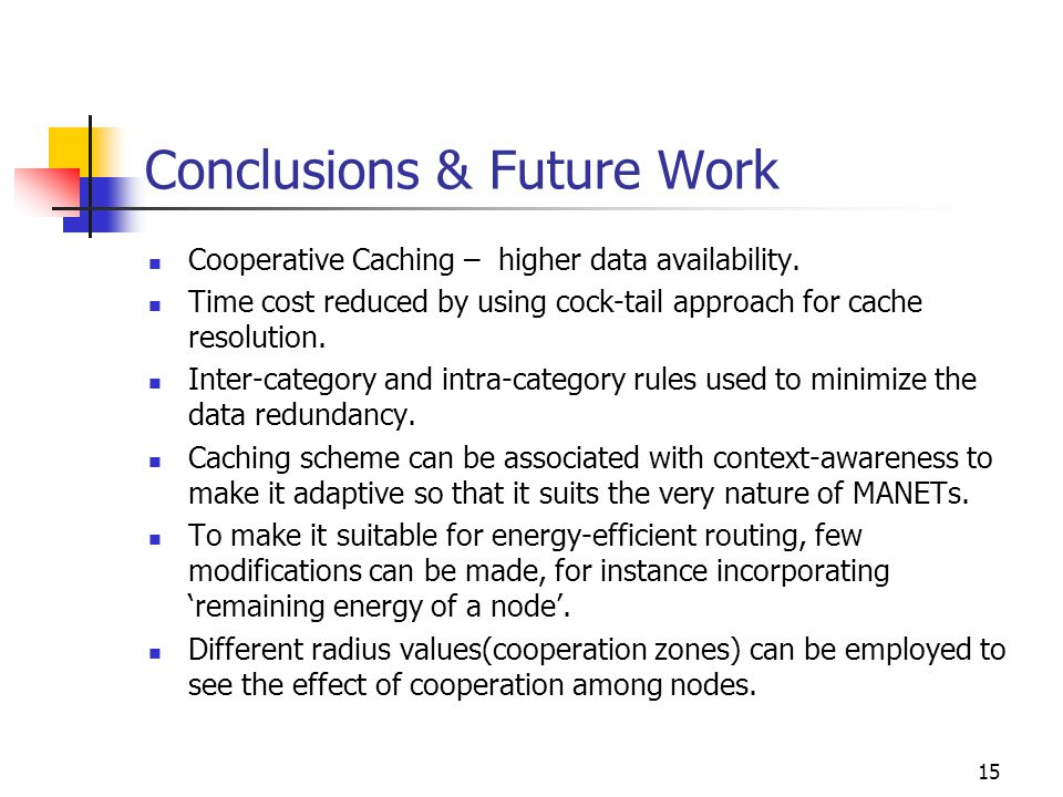 Conclusions & Future Work Cooperative Caching – higher data availability.