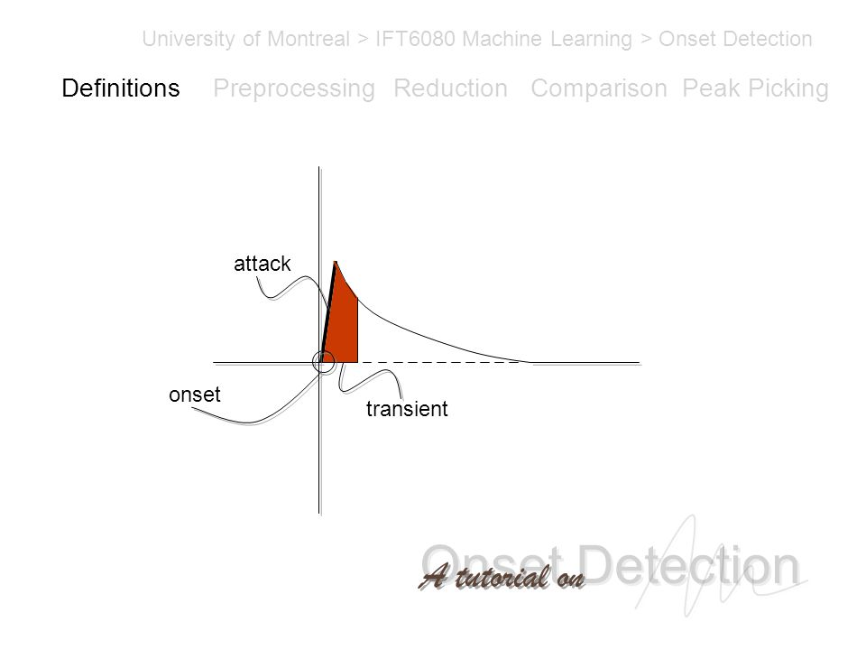Onset Detection University of Montreal > IFT6080 Machine Learning > Onset Detection A tutorial on Definitions PreprocessingReductionComparisonPeak Picking transient onset attack Definitions