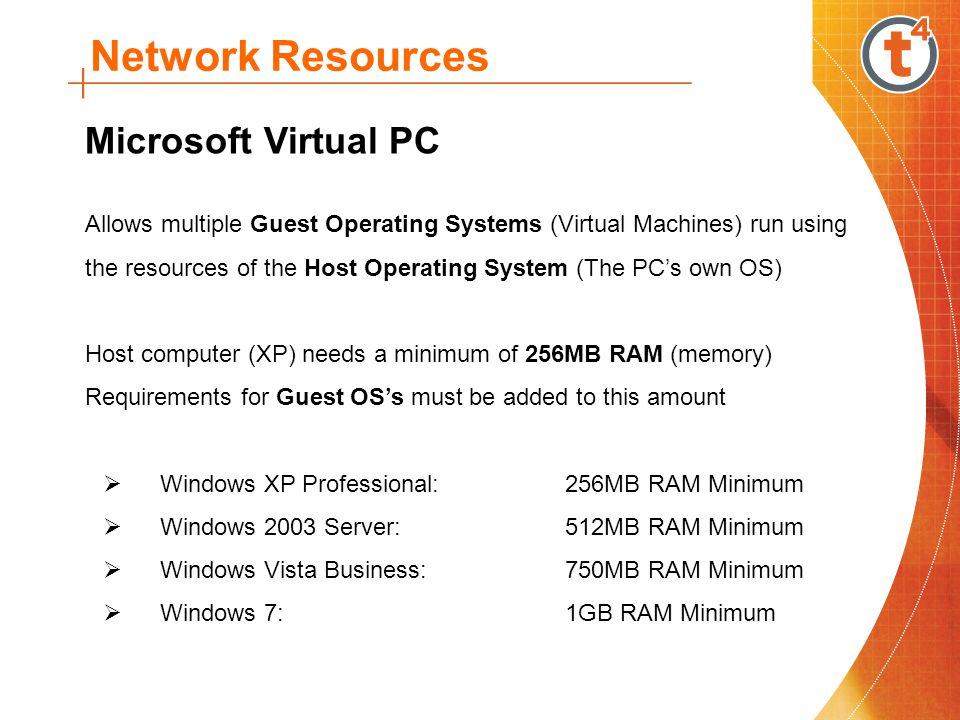 Network Resources Downloading & Installing Virtual PC Double-click the setup file and follow the prompts to install the program A folder called My Virtual Machines is created the My Documents folder when the program is run for the first time The supplied Virtual Machines must be copied into this folder