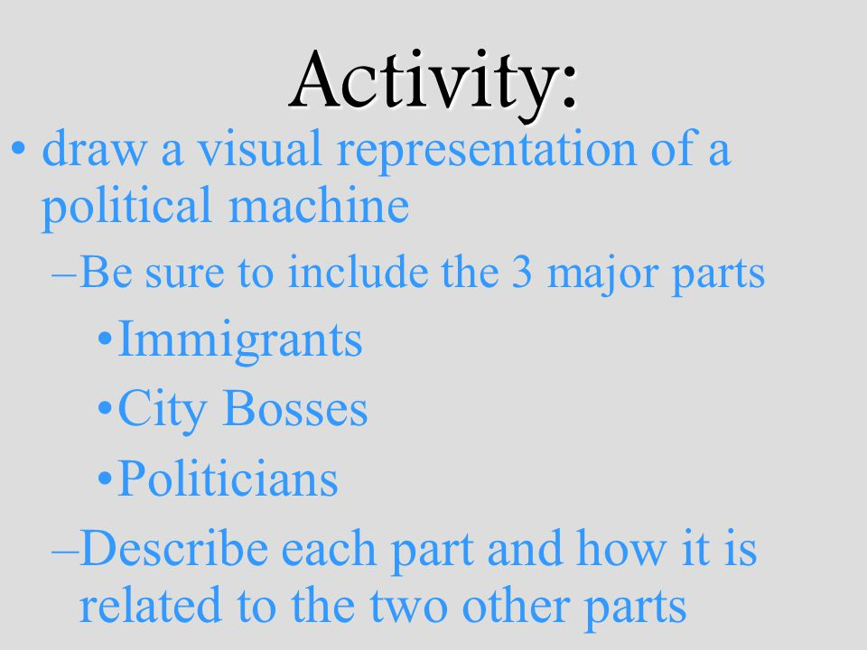 Activity: draw a visual representation of a political machine –Be sure to include the 3 major parts Immigrants City Bosses Politicians –Describe each part and how it is related to the two other parts
