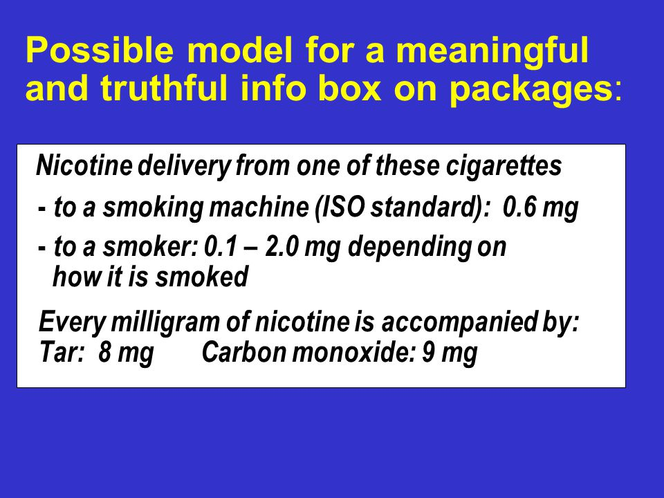 Possible model for a meaningful and truthful info box on packages: Nicotine delivery from one of these cigarettes - to a smoking machine (ISO standard): 0.6 mg - to a smoker: 0.1 – 2.0 mg depending on how it is smoked Every milligram of nicotine is accompanied by: Tar: 8 mg Carbon monoxide: 9 mg