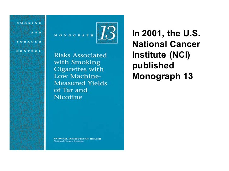 InI2001, the U.S. National Cancer Institute (NCI) published Monograph 13