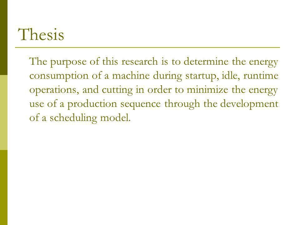Thesis The purpose of this research is to determine the energy consumption of a machine during startup, idle, runtime operations, and cutting in order to minimize the energy use of a production sequence through the development of a scheduling model.