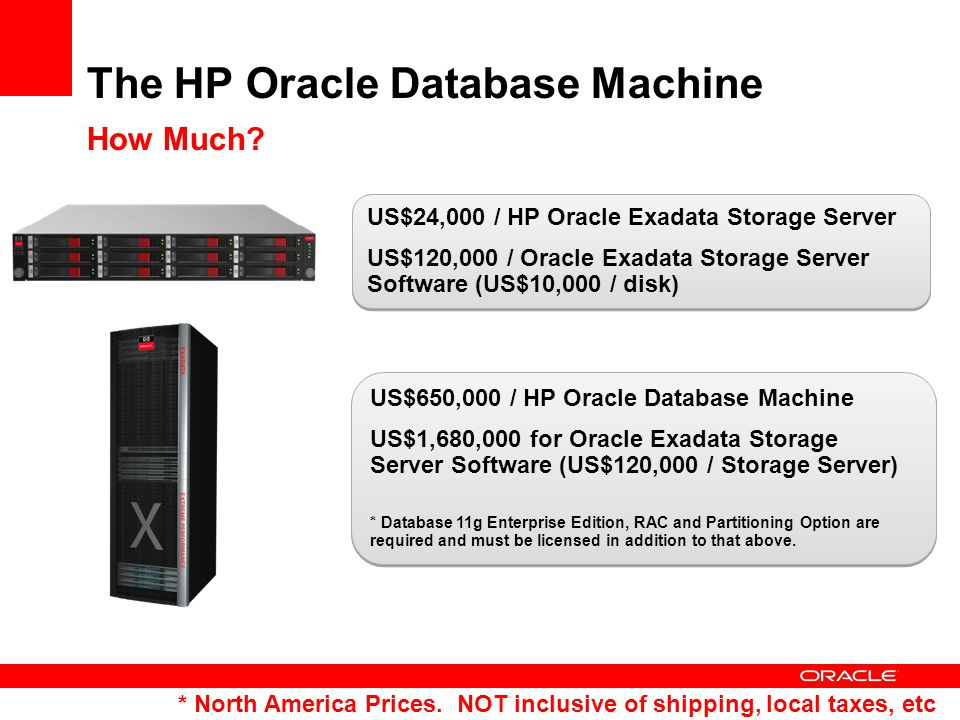 US$24,000 / HP Oracle Exadata Storage Server US$120,000 / Oracle Exadata Storage Server Software (US$10,000 / disk) US$24,000 / HP Oracle Exadata Storage Server US$120,000 / Oracle Exadata Storage Server Software (US$10,000 / disk) * North America Prices.