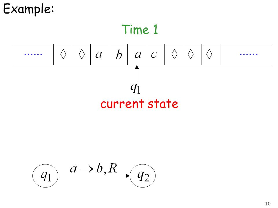 10 Example:...... Time 1 current state