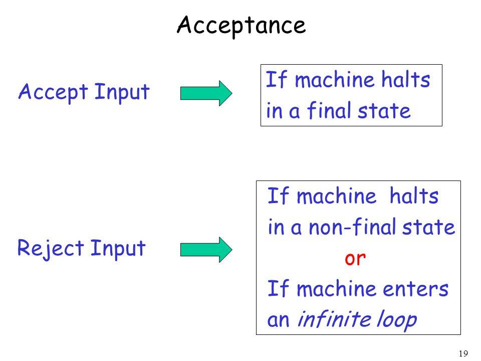 19 Acceptance Accept Input If machine halts in a final state Reject Input If machine halts in a non-final state or If machine enters an infinite loop