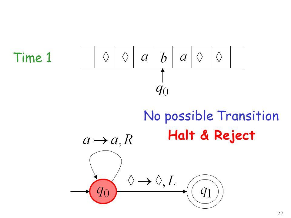 27 Time 1 No possible Transition Halt & Reject