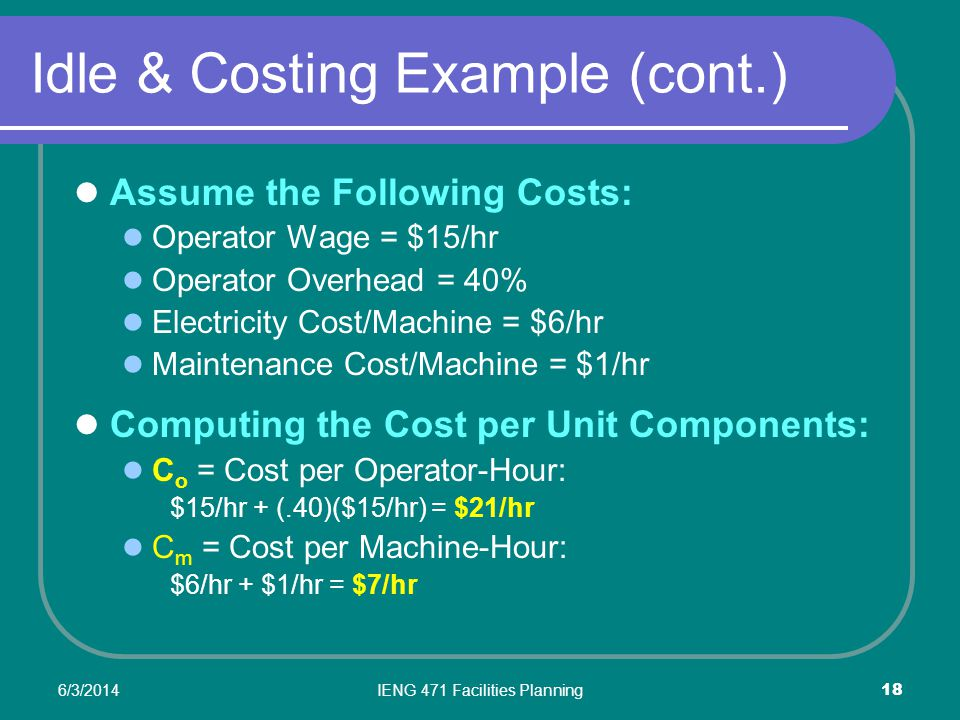 6/3/2014IENG 471 Facilities Planning 18 Idle & Costing Example (cont.) Assume the Following Costs: Operator Wage = $15/hr Operator Overhead = 40% Electricity Cost/Machine = $6/hr Maintenance Cost/Machine = $1/hr Computing the Cost per Unit Components: C o = Cost per Operator-Hour: $15/hr + (.40)($15/hr) = $21/hr C m = Cost per Machine-Hour: $6/hr + $1/hr = $7/hr