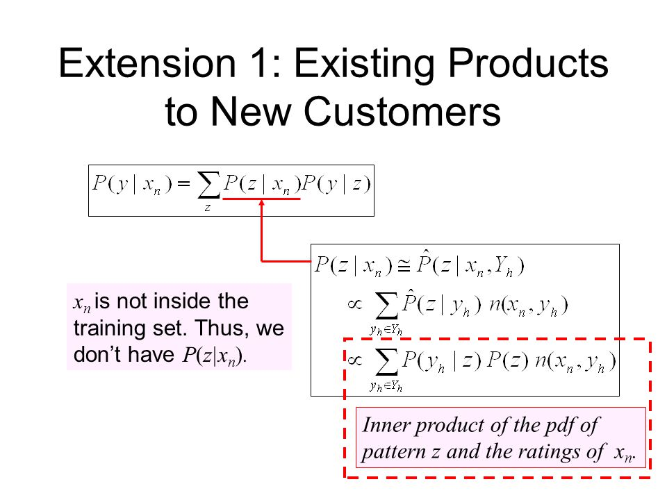 Extension 1: Existing Products to New Customers x n is not inside the training set.