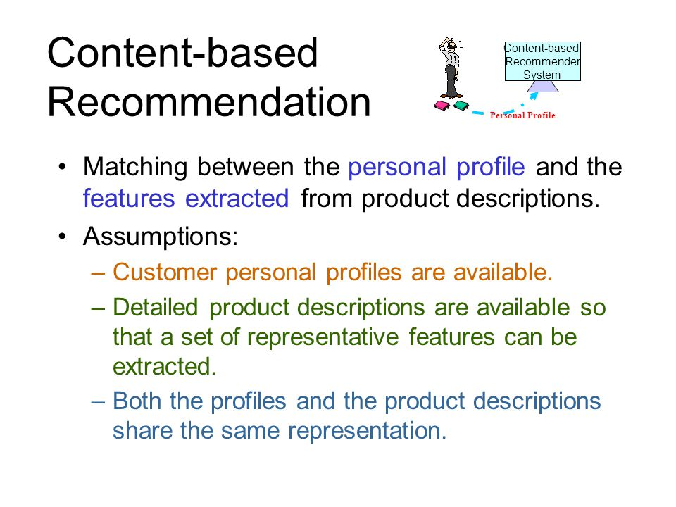 Content-based Recommendation Matching between the personal profile and the features extracted from product descriptions.