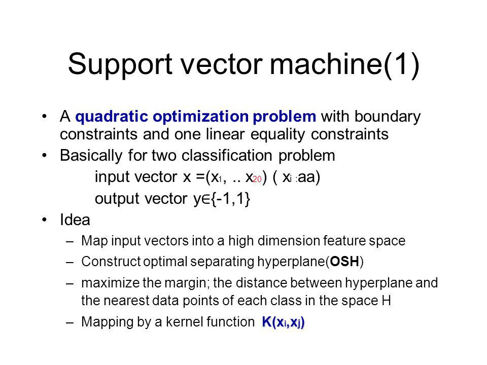 Support vector machine(1) A quadratic optimization problem with boundary constraints and one linear equality constraints Basically for two classification problem input vector x =(x 1,..