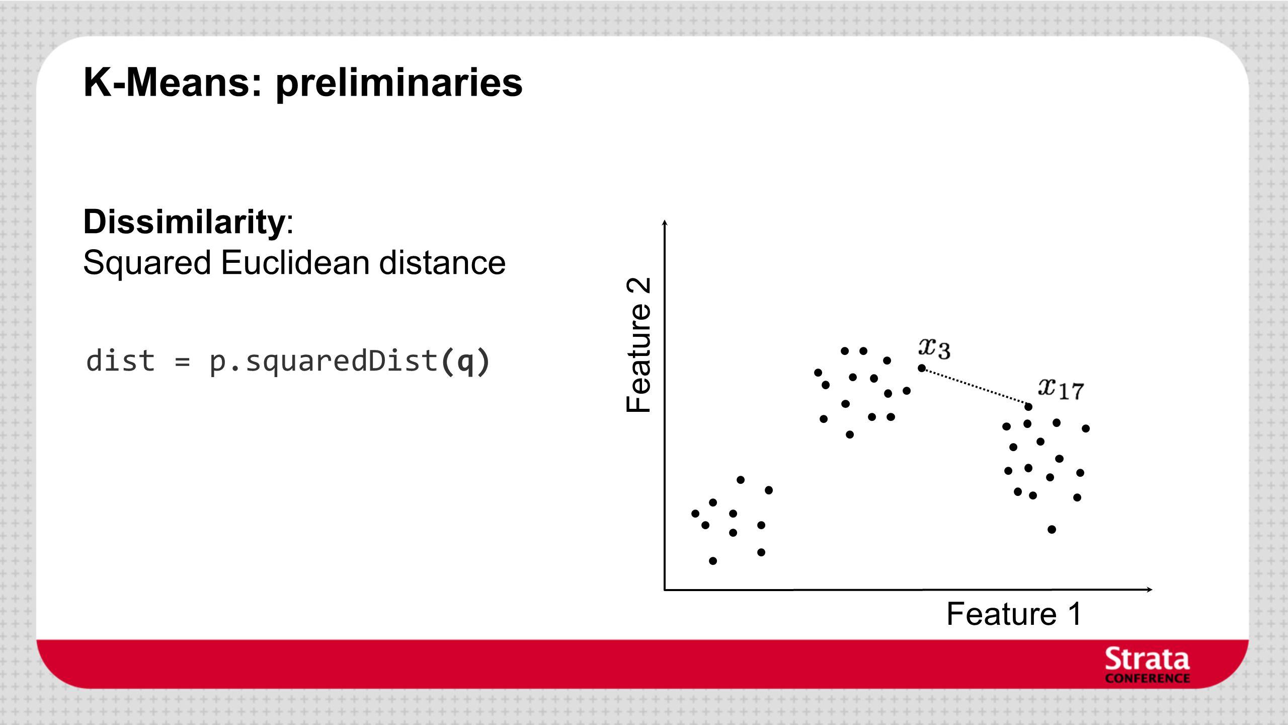 K-Means: preliminaries Feature 1 Feature 2 Dissimilarity: Squared Euclidean distance dist = p.squaredDist(q)