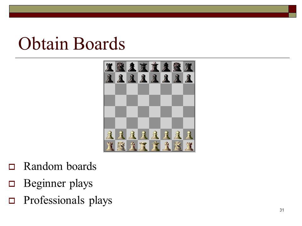 31 Obtain Boards Random boards Beginner plays Professionals plays
