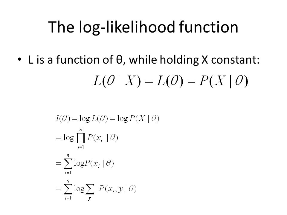 The log-likelihood function L is a function of θ, while holding X constant: