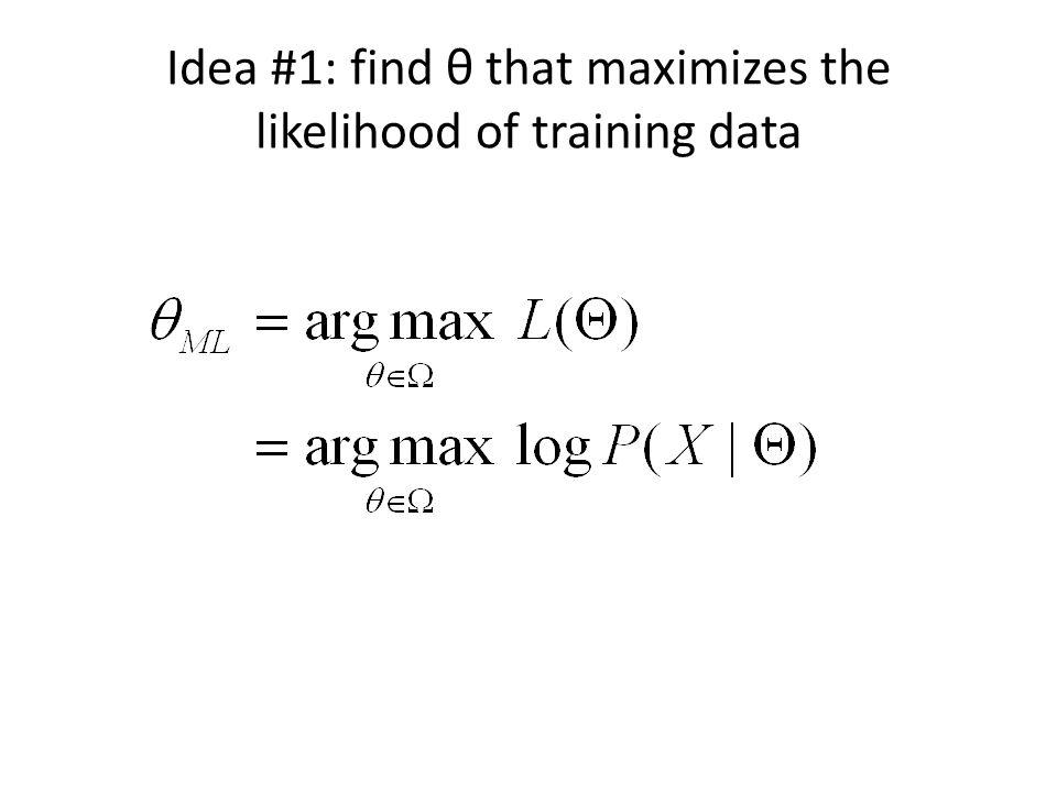 Idea #1: find θ that maximizes the likelihood of training data