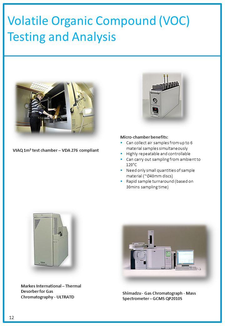 Volatile Organic Compound (VOC) Testing and Analysis 12 VIAQ 1m 3 test chamber – VDA 276 compliant Shimadzu - Gas Chromatograph - Mass Spectrometer –